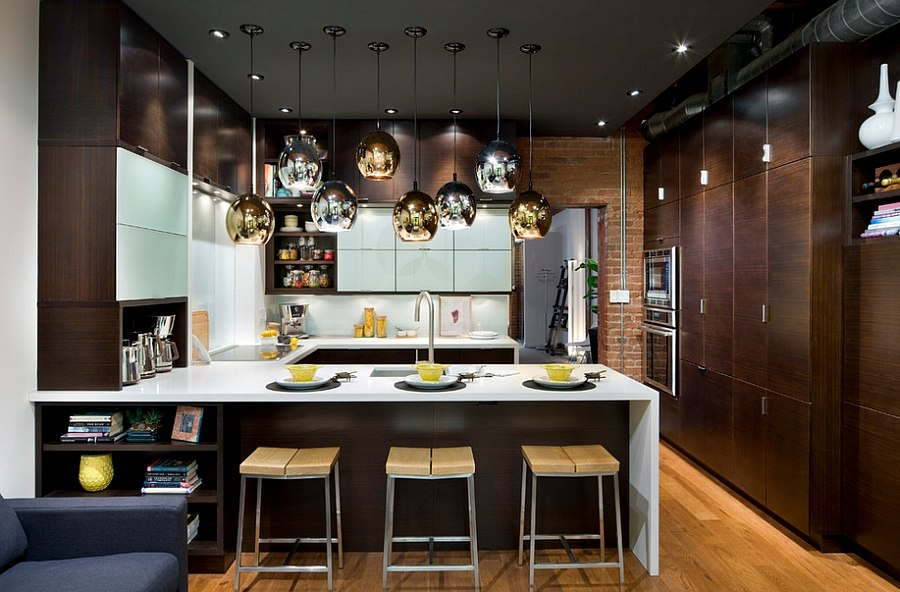 Gold And Silver Br Lighting Fixtures In The Kitchen Design Trends 2016